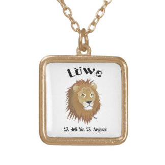 Star circle character lion necklace