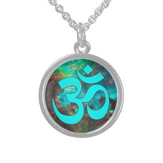 Star Cluster Aqua Om Symbol Round Pendant Necklace