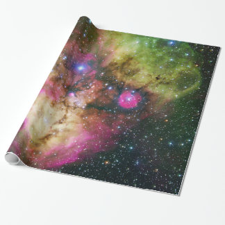 Star Cluster Nebula Green Space Astronomy Wrapping Paper