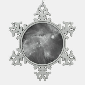 Star Cluster NGC 346 in Black & White Snowflake Pewter Christmas Ornament