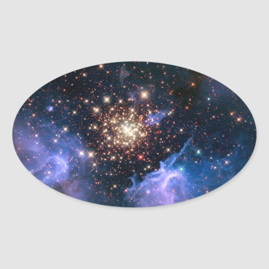 Star Cluster NGC 3603 (Hubble) Oval Sticker