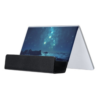 Star Cluster over Ocean Desk Business Card Holder