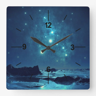 Star Cluster over Ocean Square Wall Clock