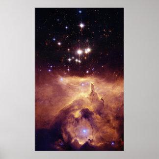 Star Cluster Pismis 24 in Emission Nebula NGC 6357 Poster