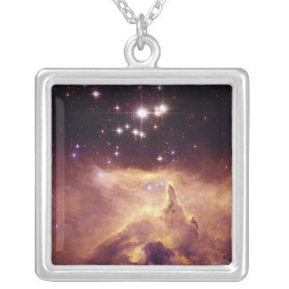 Star Cluster Pismis 24 in Emission Nebula NGC 6357 Silver Plated Necklace
