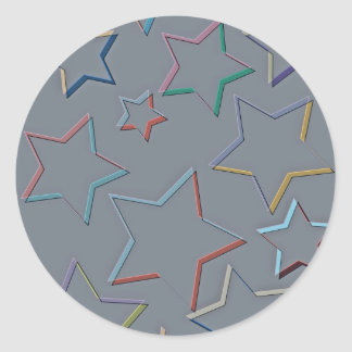 Star Coloured Outlines Stickers