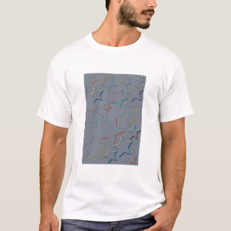 Star Coloured Outlines Tee Shirt Adult