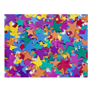 Star confetti in different colors postcard