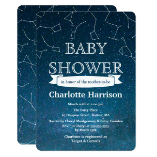Star Constellations Space Baby Shower Card