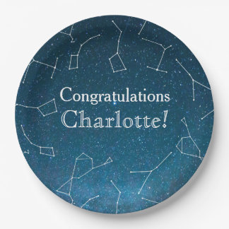 Star Constellations Space Baby Shower Paper Plate