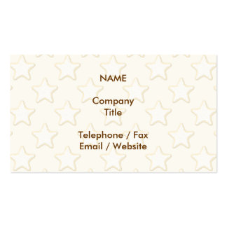 Star Cookies Pattern. Cream and Yellow. Business Card Template