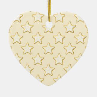 Star Cookies Pattern. Cream and Yellow. Double-Sided Heart Ceramic Christmas Ornament