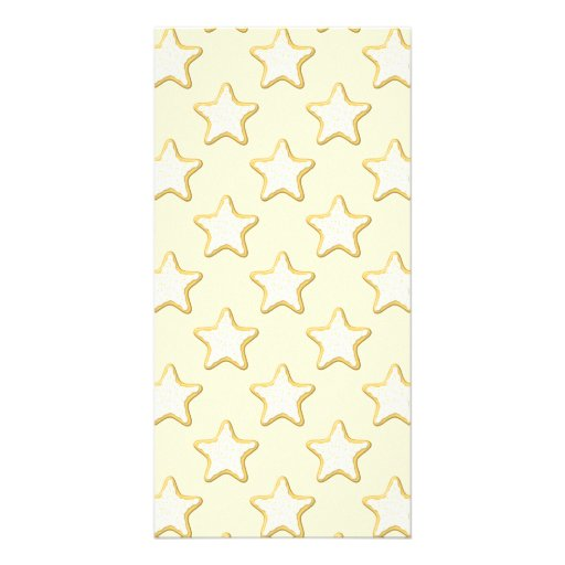 Star Cookies Pattern. Cream and Yellow. Photo Greeting Card