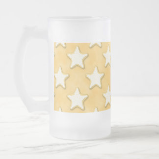 Star Cookies Pattern. Golden Yellow. Frosted Glass Beer Mug