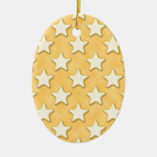 Star Cookies Pattern. Golden Yellow. Double-Sided Oval Ceramic Christmas Ornament