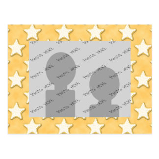 Star Cookies Pattern. Golden Yellow. Postcard