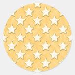 Star Cookies Pattern. Golden Yellow. Round Stickers