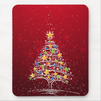 Star Covered Christmas Tree Mouse Pad