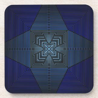 Star Cross Blue Mandala Type Crosses and Pyramids Beverage Coasters