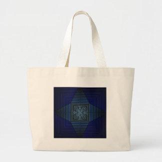 Star Cross Blue Mandala Type Crosses and Pyramids Large Tote Bag