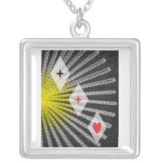 Star Diamond Heart Square Pendant Necklace
