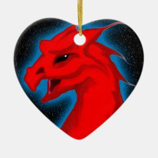 Star Dragon Double-Sided Heart Ceramic Christmas Ornament