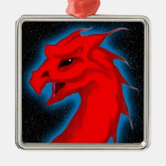 Star Dragon Square Metal Christmas Ornament