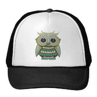 Star Eye Owl - Green Trucker Hats