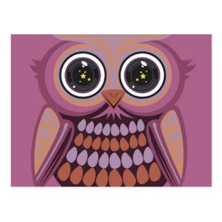Star Eye Owl - Purple Orange Postcard