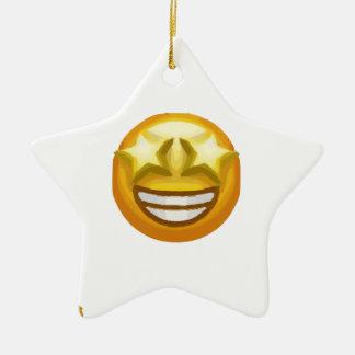 star eyes emoji ceramic ornament
