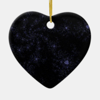 Star field Spirals Double-Sided Heart Ceramic Christmas Ornament