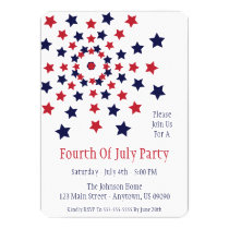 Star Firework Fourth Of July Invitations
