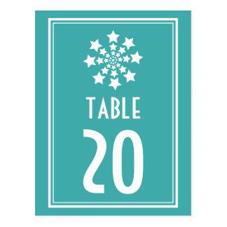 Star Firework Table Numbers (Aqua / White) Postcard
