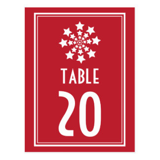 Star Firework Table Numbers (Dark Red / White) Postcard
