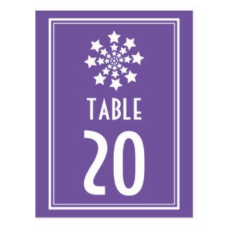 Star Firework Table Numbers (Plum / White) Postcard