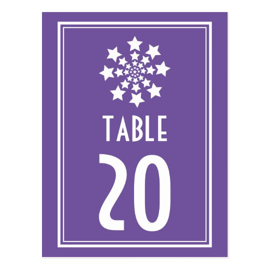 Star Firework Table Numbers (Plum / White) Postcard