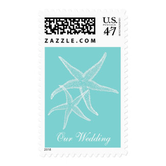 Star Fish Aqua Beach Wedding Postage Stamp