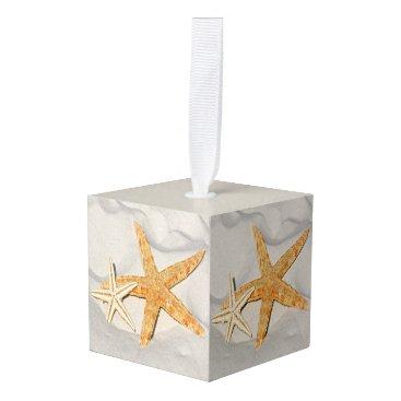Beach Themed Star Fish at the Beach Cube Ornament