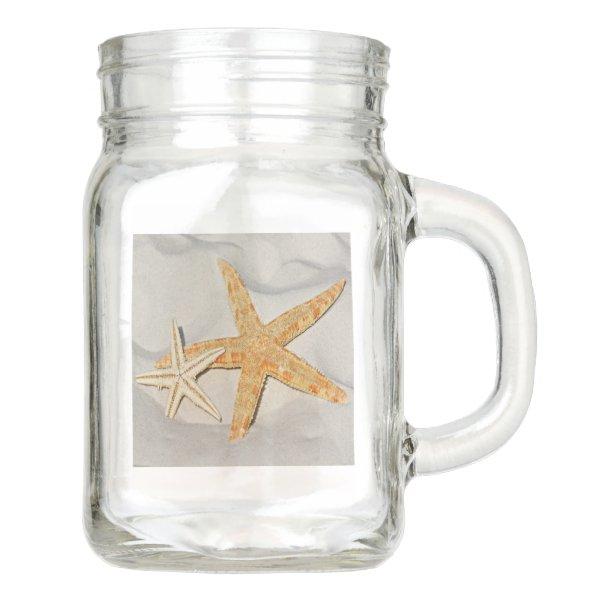 Star Fish at the Beach Mason Jar