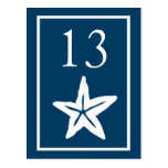 Star Fish Table Numbers (Navy Blue / White) Postcard