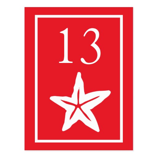 Star Fish Table Numbers (Red / White) Postcards