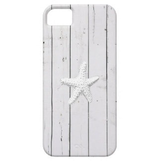 Star Fish White Painted Wood Stripes iPhone 5 Case