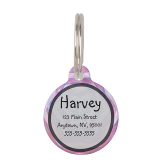 Star Flower Glitter Pattern in Pink Pet Tag