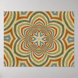 Star Flower Kaleidoscope Mandala Poster