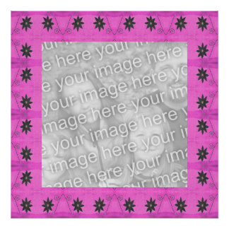 star flower pink photo frame poster