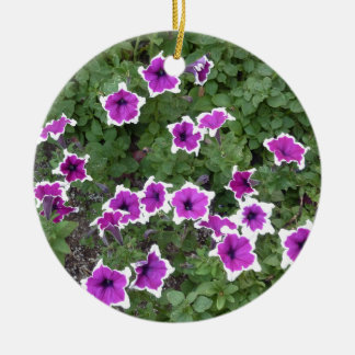 Star Flowers Double-Sided Ceramic Round Christmas Ornament