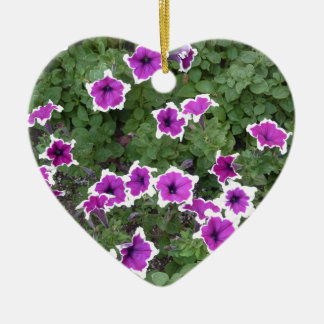 Star Flowers Double-Sided Heart Ceramic Christmas Ornament