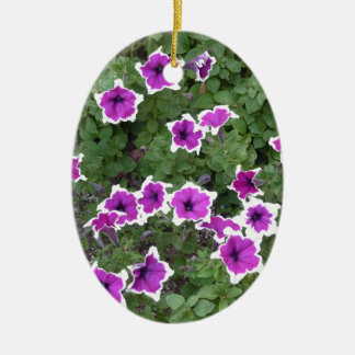 Star Flowers Double-Sided Oval Ceramic Christmas Ornament