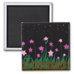 Star flowers with ladybugs garden magnet