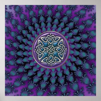 Star Fractal Mandala with Metallic Celtic Knot Print
